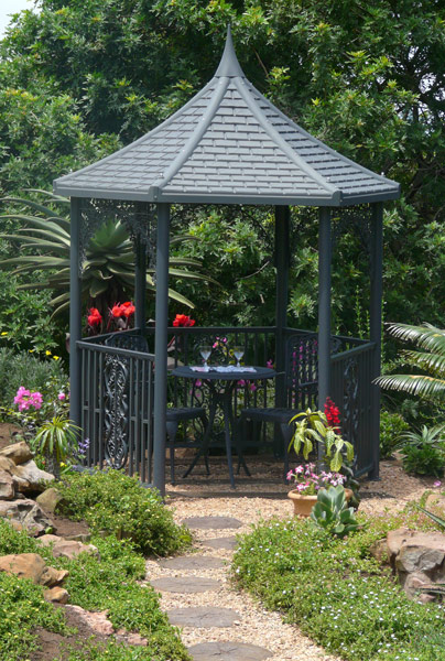 2m Grey Gazebo Grey Roof